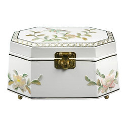 Oriental Furniture - Antoinette Jewelry Box - White - This exquisite jewelry box was hand-crafted by artisans in the Guangdong province of mainland China. Employing classic Chinese lacquering techniques, it has a rich, medium gloss finish. The inner compartment is lined with fine red felt and has a removable felt ring tray for extra storage options. Beautiful and exotic, it makes the perfect gift for yourself or a loved one.
