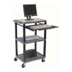 H. Wilson - 18 in. Mobile Computer Workstation in Gray - Includes 3-outlet UL listed electrical assembly with 15 ft. cord. 4 in. full swivel ball bearing casters. Two casters with locking brake. Chip, warp, rust or peel resistant. 0.25 in. safety retaining lip. Adjustable pull-out metal keyboard shelf. Inlays for top shelves create smooth work surface. Electrical assembly is recessed to pass through narrow spaces. Made from injection molded thermoplastic resin. 24 in. L x 18 in. W x 41.5 in. H. Warranty. Assembly Instructions
