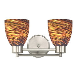 Design Classics Lighting - Satin Nickel Modern Bathroom Light with Brown Art Glass - 702-09 GL1023MB - Contemporary / modern satin nickel 2-light bathroom light. Takes (2) 100-watt incandescent A19 bulb(s). Bulb(s) sold separately. UL listed. Damp location rated.