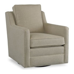 Sam Moore Gunnar Swivel Rocker - Natural - With its geometric lines and neutral upholstery, the Sam Moore Gunnar Swivel Rocker - Natural is a contemporary beauty. The natural fabric upholstery has a light texture and swivel rocking abilities that make it perfect for your home.About Sam MooreSince 1940, Sam Moore's hand-crafted upholstered furniture has offered extraordinary quality, comfort, and style. This Bedford, Virginia-based company proudly crafts its products right here in the USA. From classic to transitional to contemporary styles, Sam Moore takes time with every detail, making sure each piece is something you'll appreciate in your home.
