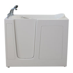 Creative Bathrooms - E-Series Air Massage 30 in. x 52 in. Walk In Tub in White with Left Drain - The E-Series 30 in. x 52 in. Air Massage  Walk In Tub is the most affordable walk in tub featuring an easy-to-clean high gloss triple gel coat tub shell for excellent color uniformity. Stainless steel frame with adjustable feet and has a 6.5 in. threshold for easy entry. ADA Compliant with components of 17 in. seat height, textured floor and a built-in grab bar. The E52 air massage tub comes standard with eighteen (18) therapeutic air massage jets. Includes a five (5) piece roman faucet in chrome with hand held shower unit. The E-Series 30 in. x 52 in. has soaking, air massage or dual massage options and right or left drain location. Size: 30 in. width x 52 in. length x 41 in. height. Limited Three (3) Year warranty on tub components. For more product information, please call 1.800.480.6850.