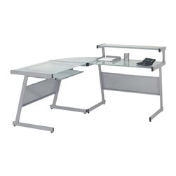 Eurostyle - Eurostyle Landon L-Shaped Desk in Aluminum & Frosted Glass Top - L-Shaped Desk in Aluminum & Frosted Glass Top belongs to Landon Collection by Eurostyle This L-Shaped Desk in Graphite Black by Eur��_��_ Style will add a touch of style and function to your home/office. A durable heavy powder epoxy coated steel frame supports elegant working surface constructed of tempered glass. The desk is also available in aluminum finish. Optional keyboard and hanging file tray. Desk Frame (1), Desk Top (1)