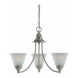 Sea Gull Lighting - 3-Light Chandelier Brushed Nickel - 31575-962 Sea Gull Lighting Albany 3-Light Chandelier with a Brushed Nickel Finish