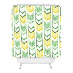DENY Designs - Heather Dutton Right Direction Lemon Lime Shower Curtain - Who says bathrooms can't be fun? To get the most bang for your buck, start with an artistic, inventive shower curtain. We've got endless options that will really make your bathroom pop. Heck, your guests may start spending a little extra time in there because of it!