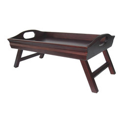 "Winsome Wood - Winsome Wood Sedona Bed Tray Curved Side - Foldable Legs - Large Handle - Traditional bed tray with a design twist. Finished in warm antique walnut and made from solid wood. Large handles and folding legs for easy storage. Serve your favorite breakfast on this great tray. Open Dimension 24""L x 14.3""W x 10.98""H Bed Tray (1)"