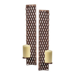 Distressed Copper Metal Weave with Glass Hurricane Candle Holders (Set of 2) - Distressed Copper Metal Weave with Glass Hurricane Candle Holders (Set of 2).