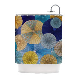 """Kess InHouse - Heidi Jennings """"Suspension"""" Gold Blue Shower Curtain - Finally waterproof artwork for the bathroom, otherwise known as our limited edition Kess InHouse shower curtain. This shower curtain is so artistic and inventive, you'd better get used to dropping the soap. We're so lucky to have so many wonderful artists that you'll probably want to order more than one and switch them every season. You're sure to impress your guests with your bathroom gallery in addition to your loveable shower singing."""