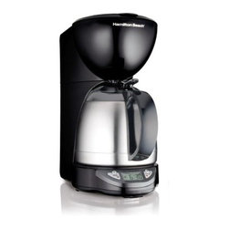 Hamilton Beach 49854 Programmable Thermal 10 Cup Coffeemaker - Black - The Hamilton Beach 49854 Programmable Thermal 10-Cup Coffeemaker - Black has a thermal carafe that's unbreakable and keeps your coffee hotter, longer. This coffee maker has a black and stainless steel design that looks great on your countertop. It can be programmed to be ready when you wake up and has a pause-and-serve function in case you just cant wait to brew the full pot before sneaking a cup. It also has an automatic shut-off, no-twist lid for instant serving, and a large clock, too. About Hamilton BeachOne of the countrys leading distributors of small kitchen appliances, Hamilton Beach Brands, Inc. sells over 35 million appliances every year. The companys most famous brands - Hamilton Beach, Eclectrics, Proctor Silex, and TrueAir - are found in households across America, Canada, and Mexico. Hamilton Beach takes immense pride in their product quality, wide variety of options, superior customer service, and brand name strength and remains committed to serving customers through Good Thinking applied to the style and function in all of their small electric appliances.