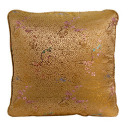 China Furniture and Arts - Silk Pillow - Cherry Blossom, Gold - Colorful cherry blossom tree are brocaded on this luxurious gold silk pillow. Mix or arrange decoratively on a sofa, bed, or chaise. Zipper cover removes for dry cleaning.
