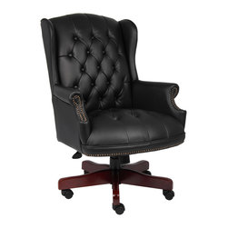 Boss Chairs - Boss Chairs Boss Wingback Traditional Chair in Black - Classic traditional button tufted styling. Elegant Mahogany wood finish on all wood components. Hand applied brass nail head trim. Pneumatic gas lift seat height adjustment.