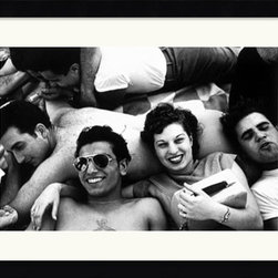 Amanti Art - Teenagers, Coney Island, 1949 Framed Print by Harold Feinstein - As a native to Coney Islander, Harold Feinstein loved to take pictures of it and it's populous. Taken in 1946, this photo captures a group of teenagers enjoying a lazy afternoon at Coney Island.