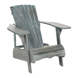 Safavieh - Mopani Adirondack Chair - PAT6700A - Shop for Chairs and Sofas from Hayneedle.com! There's no better way to enjoy fresh air than in the Mopani Adirondack Chair. Known for their beautiful natural setting and crisp mountain air the Adirondacks have long been a tourist destination for those looking for a clean and quiet place to unwind. And the Mopani Adirondack Chair follows that sensibility to a tee. Even down to the sustainable acacia wood construction this chair reflects its inspired natural environs. Created as chairs for his family's summer vacation home Thomas Lee's original design was made for relaxing. The contoured seat of the Mopani version by Safavieh sits low with high wide armrests that invite you to sink back with a tall cold drink. Available either in an Ash Gray or natural light wood finish or in a white paint this chair easily compliments any porch or yard.About SafaviehConsidered the authority on fine quality craftsmanship and style since their inception in 1914 Safavieh is most successful in the home furnishings industry thanks to their talent for combining high tech with high touch. For four generations the family behind the Safavieh brand has dedicated its talents and resources to providing uncompromising quality. They hold the durability beauty and artistry of their handmade rugs well-crafted furniture and decorative accents in the highest regard. That's why they focus their efforts on developing the highest quality products to suit the broadest range of budgets. Their mission is perpetuate the interior furnishings craft and lead with innovation while preserving centuries-old traditions in categories from antique reproductions to fashion-forward contemporary trends.