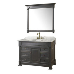 "Wyndham Collection - Wyndham Collection WCVTS48BLCW Antique Black / Carrera Top Andover 48"" - Included Components:Hardwood vanity cabinetnatural stone vanity topSingle basin bathroom sinkWidespread bathroom faucetVanity Cabinet Features:Constructed of hardwood providing a lifetime of durabilityVanity features 6 full extension drawers providing ample concealed storage spaceThis model is a complete package - vanity top includedThis fixture is highlighted by an included full-sized mirrorComplete with matching decorative hardwareAll necessary parts and hardware for assembly and installation are includedSolid cabinet construction ensures years of reliable performanceVanity Top Features:Vanity top is Constructed of natural stone material providing a sturdy feel and clean appearanceTop features a recessed single basin sinkVanity top is equipped with backsplash to help contain any messes to the countertopFaucet and waste assembly not included with this model - must be purchased separatelySturdy mounting assembly - ensuring safety and reliabilityAll hardware needed for installation is includedVanity Cabinet Specifications:Overall Height: 35"" (measured from ground level to highest point on vanity)Overall Depth: 23"" (measured from back most to front most point on vanity)Overall Width: 48"" (measured from left most to right most point on vanity)Mounting Style: FreestandingNumber of Drawers: 6Number of Doors: 1Vanity Top Specifications:Overall Depth: 23"" (measured from back edge to front edge of vanity top)Overall Width: 48"" (measured from left most to right most point on vanity top)Sink Installation Type: UndermountNumber of Faucet Holes: 3Drain Outlet Connection: 1-1/2"""