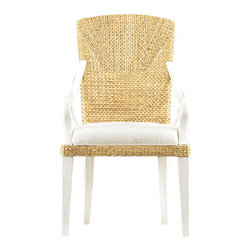 Stanley-Coastal Living - Water's Edge Woven Arm Chair - The Water's Edge Woven Armchair, by Stanley Coastal Living, brings together the casual charm of its woven water hyacinth back, and the more formal pitch of its sloped wooden arms. Upholstered in a bright Solana fabric, this Super Comfort seat provides a plush spot to enjoy a delicious meal or read the morning paper. Let it enhance your next gathering and see if you don't find yourself relaxing long after dinner is through.