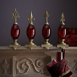 Horchow - Red Finial Stocking Hook - Exclusively ours. These impressive stocking hooks featuring swirled bodies capped with distinctive finials turn stocking displays into majestic affairs. Made of polyresin. Available four designs (shown left to right): Acanthus Arrow, Diamond Dagger,...