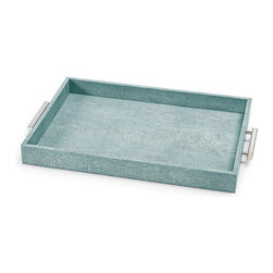 Frontgate - Shagreen Rectangle Tray with Handles - Made of wood composite and resin. Cruelty-free faux stingray shagreen. Choose from Ivory-grey or Turquoise-silver. Perfect for serving breakfast in bed. Fashionable and versatile, the Shagreen Rectangle Tray with Handles easily transitions from serving piece to display piece. The perfect addition to a sparkling bar cart, this chic and functional tray also makes organizing countertops, vanities and coffee tables easy and straightforward.  .  .  .  .