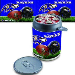 Picnic Time - Baltimore Ravens Can Cooler - The Can Cooler by Picnic Time is a hard-sided cooler and large beverage can replica that also doubles as a seat. It holds ten 12-oz. cans and has a 9 quart capacity. It features a snugly fitting, fully removable lid and folding handle. Perfect for the beach, patio, tailgating, parties, and sporting events.; Decoration: Digital Print; Includes: 1 removable lid