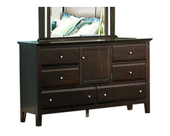 Homelegance - Homelegance Verano 6-Drawer Dresser with-Door in Espresso - Appropriate for a number of bedroom designs, the Verano collection is the perfect permanent canvas for your ever-evolving personal style. The rich espresso finish is delicately accented with discrete brushed nickel knob hardware and stylish framing that carries from the bed to the mirror in this modern transitional set. The pull-out tray on the nightstand provides additional space for your bedside needs.