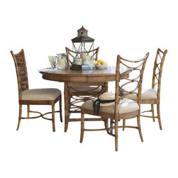 Tommy Bahama Home - Tommy Bahama Home Beach House Coconut Grove Dining Table in Golden Umber - Tommy Bahama Home - Dining Tables - 010540870C - Intimate dining or breakfast nooks will be perfect for this 48-inch diameter table. The leather wrapped bent rattan table base is eye catching and supports the additional leaf for dinner parties of six.