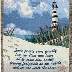 `Footprints on the Heart` Tapestry Blanket 50 In. X 60 In. Lighthouse - This double layered multicolored woven tapestry throw blanket is a wonderful addition to any home. Made of cotton, the blanket measures 50 inches wide, 60 inches long, and has approximately 1 1/2 inches of fringe around the border. The blanket features a lighthouse scene and has the words `Some people come quickly into our lives and leave, while some stay awhile, leaving footprints on our hearts, and we are never the same` printed at the bottom. Care instructions are to machine wash in cold water on a delicate cycle, tumble dry on low heat, wash with dark colors separately, and do not bleach. This comfy blanket makes a great gift for friends and family.