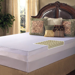 Grande Hotel Collection - Grande Hotel Collection Big Comfort 4-inch Memory Foam Mattress Topper with Cove - The contoured foam design of this exceptional plush memory foam mattress topper will give you a restful night's sleep. A dual-sided design allows you to either sleep with the textured side or the smooth side up,customizing your sleeping experience.