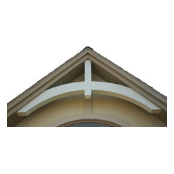 "WholesaleMillwork - Gable Decoration Style 645, 12/12 Pitch - This wood grain beam gable adornment is very popular. Made of high density polyurethane, this product will not rot, crack, or peel when properly installed. It is available in standard roof pitches from 9/12 to 12/12. The beam is 5"" by 8"" on all models."