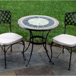 Ponte Mosaic Patio Bistro Set - Create a retreat of your own that is both beautiful and luxurious with the Ponte Mosaic Patio Bistro Set. Warm colors in natural tones bring out the vibrant colors scattered throughout your yard. Made with great care and quality, the table frame is crafted from hand forged wrought iron dipped in a zinc-phosphate bath and E-coated to create a weather-resistant coating. It's finished with a powder coating to provide an extra layer of rust-resistant protection. Hand laid mosaic tiles shows off the expert craftsmanship of this table. With tiles made from natural sources such as marble, slate, and travertine, there is a slight color variation between tables so that no two tables are exactly the same. The top is then grouted with industrial adhesives for durability so the natural beauty of this table is maintained. Its two person design is perfect for dates, intimate conversations, and time by yourself in the peace and serenity of your backyard. Fully welded chairs ensure that there is no hardware to loosen over time, causing them to fall apart. Its basket-weave design adds an elegant and classic look to this bistro set. Comfortable cushions in natural tones are included and complement your existing decor. Serve tea to friends, have lunch alone with your child, or enjoy a date night at home with your significant other surrounded by beauty and comfort. Additional Features Deep, warm colors accent the beauty of your yard Classic circle pattern with radiating lines Beautiful bistro chairs with a weave style back Table frame is weather and rust resistant Made with rust proof stainless steel hardware Iron has a thickness of 5mm to 6mm Mosaic tiles are hand-set Tiles come from natural sources Sources include marble, slate, and travertine Colors will vary slightly on each table No 2 tables are exactly alike Grouted with industrial adhesives for durability Fully welded dining chairs hold up for years Includes water and fade resistant cushions Easy to clean with mild soap and water Includes 2 chairs, 1 table with base Some assembly required 1 year limited warranty About Mosaic Table TopsThe mosaic tiles are hand-set and grouted with industrial adhesives for maximum durability. What this means is if the mosaic top gets wet, the grout won't dry out and crack like traditional standard grout would. The top is then finished and sealed with an industrial-grade sealant called Fluorocarbon for superior protection. Natural wear and tear of elements may lead to blistering of the silicone top seal and natural aging of the tile materials. The hand-forged wrought-iron table frame is dipped in a zinc-phosphate bath and then electrostatically coated to help create a weather-resistant coating to delay the onset of rust. Following a quality check for strength and durability, iron welds are ground for aesthetic appeal. Finally, a powder-coated finish is applied and baked onto the iron for stronger color and protection. As fetching as it is functional, this is a piece that will never go out of style. About Alfresco HomeOffering a wide selection of fashionable products, from casual furniture and garden lighting to permanent botanicals and seasonal decor, Alfresco Home casual living products offer a complete line of interior and exterior living furnishings and accents. Based out of King of Prussia, Penn., Alfresco Home continues to blend indoor and outdoor furniture to create a lifestyle of alfresco living inside and outside of the home. Inlaid mosaic tabletops, fine hardwood furnishings, artisan-inspired accents, premium silk botanicals, and all-weather wicker sets are just a few examples of the kind of treasures you'll find in Alfresco's specially designed collections.Please note this product does not ship to Pennsylvania.