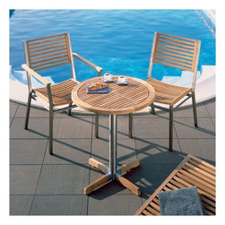 "Barlow Tyrie - Equinox Bistro Set - We invite you to browse through our fine teak furniture and hope that it will give you inspiration when planning your outdoor room. As you spend more of your leisure time in the garden, both relaxing and entertaining, it is increasingly important that your outdoor environment is comfortable, functional, and visually pleasing. We combine many years of manufacturing experience with the best materials and design excellence to achieve these criteria perfectly. We are very proud of the quality of our furniture and we hope that you will choose to become one of our valued customers. This is the modern outdoor bistro set that you have been searching for! Constructed of teak and aluminum, the equinox armchair is a contemporary piece that is built to withstand years of outdoor use and works well with the dining tables in the equinox range. The bistro table is crafted using '316' marine - grade stainless steel and first grade plantation grown teakwood. Its design details include legs of combined stainless steel and teak and a striking stainless steel inlay on the table top. Features: -Bistro table. -Choose either 2 equinox teak armchairs or 2 teak equinox side chairs for a complete set. -Suitable for commercial or residential use. -Arm chairs and side chairs are not included and need to be purchased separately. Specifications: -Table dimensions: 27.63"" H x 26.5"" W x 26.5"" D. -Optional armchair: 33.5"" H x 23.38"" W x 24"" D. -Armchair height: 25.5"". -Armchair seat height: 17.25"". -Optional side chair: 33.5"" H x 20"" W x 24"" D."