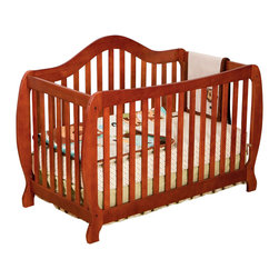 Stork Craft - Stork Craft Monza 2-in 1 Fixed Side Convertible Crib in Cognac - Stork Craft - Cribs - 0458731C - A throwback to the retro modern design era of the mid-twentieth century the Monza I Fixed Side Convertible Crib by Stork Craft Furniture is sure to be a welcome addition to your nursery.This crib features a unique retro curve on the back and a dipped curve along the front allowing effortless access to your baby. The clean detailing and bowed posts create a truly striking piece. All four sides are stationary and include an adjustable three position mattress support base to add to the security and stability of this epoch crib. This crib will grow with your child as it converts from a standard crib to a full-size bed (full size bed rails not included).  This piece is made of solid wood and wood products offered in a selection of non toxic durable finishes. Set-up this modern work of art with ease by following the simple easy to follow assembly instructions provided by Stork Craft. Complete your nursery look by adding a Stork Craft changing table chest dresser or glider and ottoman.