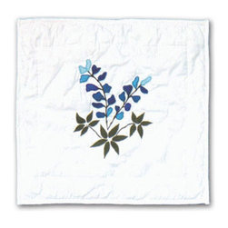 Patch Quilts - Blue Bonnets Toss Pillow 16 x 16 Inch - Decorative applique Quilted Pillow Bed and Home Ensembles and Bedding items from Patch Magic   - Machine washable  - Line or Flat dry only Patch Quilts - TPBLUE