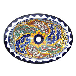 Casa Daya Tile - Made to order Talavera Hand Painted Mexican Sink, Small - The styles are influenced by the beautiful Spanish architecture in the Guanajauto state of Mexico from the time the Spanish inhabited the area starting in the 1520's.