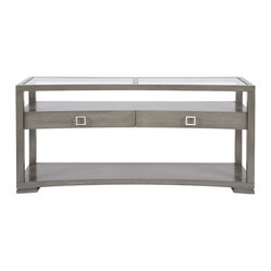 Vanguard - Regent Sofa Table - Combining functionality with flawless design, this console table helps keep your space tidy and organized. Two drawers provide storage for small items, and three tiers of surface space come in especially handy for extra towels and linens.