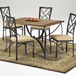 Bernards - Sanford 5 Pc Rectangular Dinette Set in Black - Set includes table and 4 upholstered chairs. Made of wood and metal. 48 in. L x 36 in. W (123 lbs.)