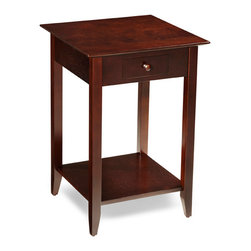 "Convenience Concepts - American Heritage End Table with Shelf and Drawer in Espresso - American Heritage End Table with Shelf and Drawer in Espresso by Convenience Concepts, Inc.; Features a Drawer; Features a Bottom Shelf; Espresso Wood Grain; Coordinates with Any decor; Will provide years of enjoyment; No Lead content.; Country of Origin: China; Weight: 18 lbs; Dimensions: 26""H x 18""W x 18""D"