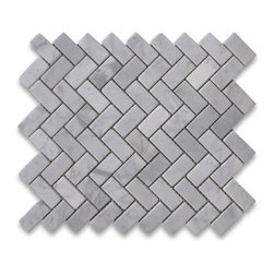 "Stone Center Corp - Carrara Marble Herringbone Mosaic Tile 1 x 2 Tumbled - Carrara White Marble 1x2"" pieces mounted on 12""x12"" sturdy mesh tile sheet"