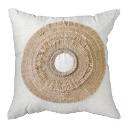 """Bandhini - African Shield Medium Throw Pillow - The African Shield pillow introduces a simple yet fresh design to a sofa or bed. Across white linen, a hand-stitched beige circular accent intrigues with textured ruffles. Made from 100% linen. Dry clean. Grey goose down fill insert included. 18""""W x 18""""H."""