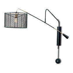 Kathy Kuo Home - Salto Industrial Loft Metal Mesh Boom Sconce - Boom, baby! Taking inspiration from boom microphones used in film and TV, this sconce appears to hang on a swinging arm. The mesh shade only adds to the contemporary Hollywood effect, sure to make your walls feel like they're destined for stardom.