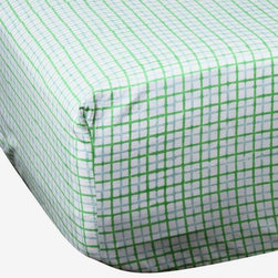 Mia + Finn - James Sky/Grass Fitted Sheet, King - As cozy and comfortable as a cookout, these sheets are fabricated from 300 thread count cotton percale, for a soft feel and machine-washable convenience. Each piece is individually block-printed, resulting in subtle variations that are a hallmark of this age-old process. Pair with a matching sheet, or mix patterns and colors for an informal country feel.