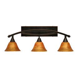 "Toltec - Toltec 173-BC-454 Bow 3-Light Bath Bar Shown in Black Copper Finish - Toltec 173-BC-454 Bow 3-Light Bath Bar Shown in Black Copper Finish with 7"" Fire Saturn Glass"