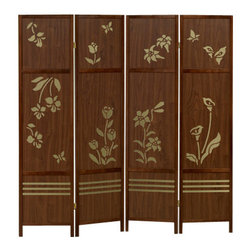 "Asia Direct - 4 Panel Walnut Finish Wood Room Divider Shoji Screen with A Floral Design - 4 panel walnut finish wood room divider shoji screen with a floral design in the center. Made with a walnut finish wood frame and floral carvings in the center. Measures 68"" W x 71"" H."