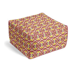 Magenta Ikat Square Pouf - The Square Pouf is the hottest thing in decor since the sectional sofa. This bean bag meets Moroccan style ottoman does triple duty as a comfy extra seat, fashion-forward footstool, or part-time occasional table.  We love it in this bright magenta, aqua & yellow eclectic ikat on textured cream cotton. the spicy, bustling bazaar brought home to you!