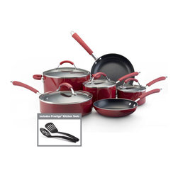 Farberware - Farberware Millennium 12-piece Set Porcelain Nonstick Cookware, Red - Cook in comfort, style and ease with this 12-piece cookware set from Farberware. This set includes two covered saucepans, one covered stockpot, a covered saute pan, two skillets, one slotted spoon and one slotted turner.