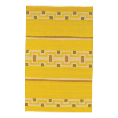 Woven Spirits Navajo rug in Sunflower - A celebration of the ancient textile weaving traditions of the American Navajo tribe. Designed by Rachel Brown, a renowned New Mexico textile designer. Collectors' pieces hand woven of pure long staple wool.  Hand woven on vertical looms by Navajo weavers and signed by the artisan weaver.