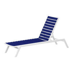 PolyWood - Euro Chaise Lounge, Satin White/Pacific Blue - The sun. The surf. The sand. This relaxing chaise lounge is the perfect place to dream about a lavish getaway. The Euro Chaise Lounge by Polywood�� is a comfortable, durable, stackable and attractive chaise lounge that will last through years of use and environmental stresses. This lounge features slightly contoured slats for comfort and an adjustable back. Sturdy Polywood�� material won't rot, splinter or crack and resists fading, fungi and insects.