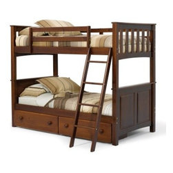 "Pine Ridge Twin over Twin Mission Bunk Bed - Chocolate - The sophisticated mission style design of the Pine Ridge Twin over Twin Mission Bunk Bed - Chocolate makes it a handsome bedroom addition that grows with your child's tastes. The lower twin bed features a classic panel head and footboard while the top bunk has the slats and decorative moldings that made the mission style famous. Great for boys or girls this bunk bed is made from solid wood with a dark chocolate brown finish and comes complete with safety guard rails on the top bunk and a sturdy ladder. Add storage below by choosing the underbed drawers (sold separately). About Woodcrest ManufacturingIn business for nearly 20 years Woodcrest Manufacturing has grown beyond its simple origins in Peru Indiana to become a leader in global furniture industry partnerships. They specialize in """"stairway bunk bed"""" designs and all their products are tested by independent laboratories to ensure top safety in your child's bedroom."