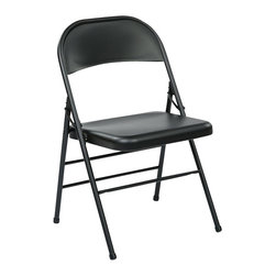 Office Star - Office Star FF Series Folding Chair with Metal Seat and Back in Black - Office Star - Folding Chairs - FF22324M - Convenient for outdoors or an extra seat for a guest this folding chair comes in a multiple color selection of your choice. Also the office star is easy to store away until the next time you need it.