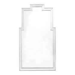 Lillian August - Lillian August Silver Athena Mirror LA13341-01 - A beautiful blend of beveled, lightly antiqued, mirrored framing bordered with aged silver wood trim and surrounding a clear mirrored glass surface.