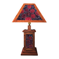 Craftsman Style Hand Painted Lamp - Hand crafted solid red or white oak, four panel lamp shade and lighted base with hand painted glass inserts by Jamie Barthel.  This design features four architectural rose designs in  reds, purples, blues and blacks.  A three way corded switch allows you to choose to light top, bottom, or both.