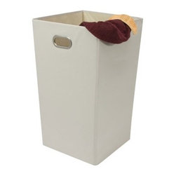 Richards Homewares Inc - Collapsible Laundry Hamper - Good-looking design has stepped this Collapsible Laundry Hamper to a new level. Lightweight for portability. Handles facilitate carrying to the laundry. Tall and streamlined. Nice chrome accent at the handholds also increases the durablility of the handle. Perfect for dorms. Just fold it down for transporting. Now you have room for other things in the family wagon.