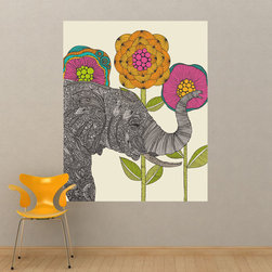 My Wonderful Walls - Elephant Animal Art Wall Sticker Decal – Aaron by Valentina Harper, Medium - - Product: wall decal of an elephant with flowers
